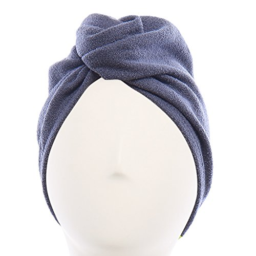 Aquis - Original Hair TURBAN, Patented Perfect Hands-Free Microfiber Hair Drying, Dark Grey (10 x 27 Inches)