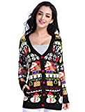 v28 Christmas Sweater Cardigan, Women Girls Ugly Fun Long Knit Colorful Sweaters