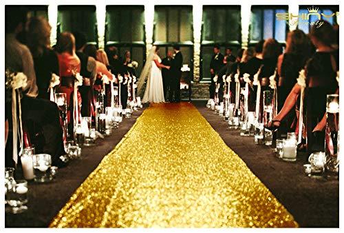 ShinyBeauty Gold Aisle Runners 2FTx15FT Carpet Runner for Party Glitter Runner for Wedding Aisle Runner Gold~N10.5 -