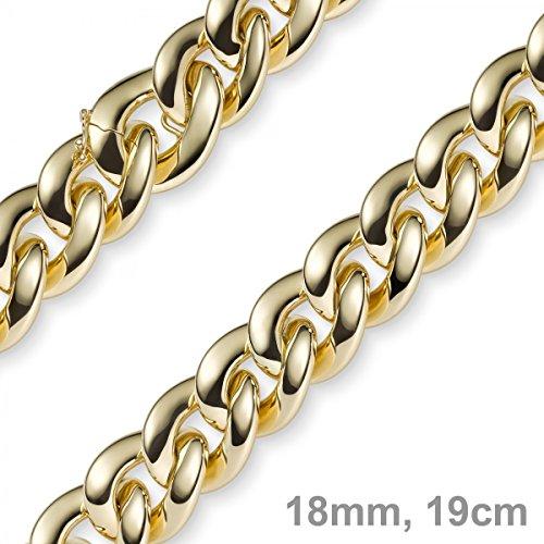 18mm loin Imagination Bracelet Chaîne gourmette en or jaune 58519cm