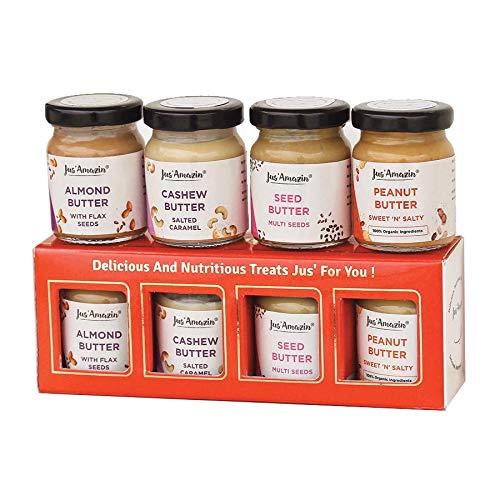 Jus' Amazin Gift Box Combo Pack - Almond Butter, Seed Butter, Cashew Butter & Peanut Butter (4 X 55 g)