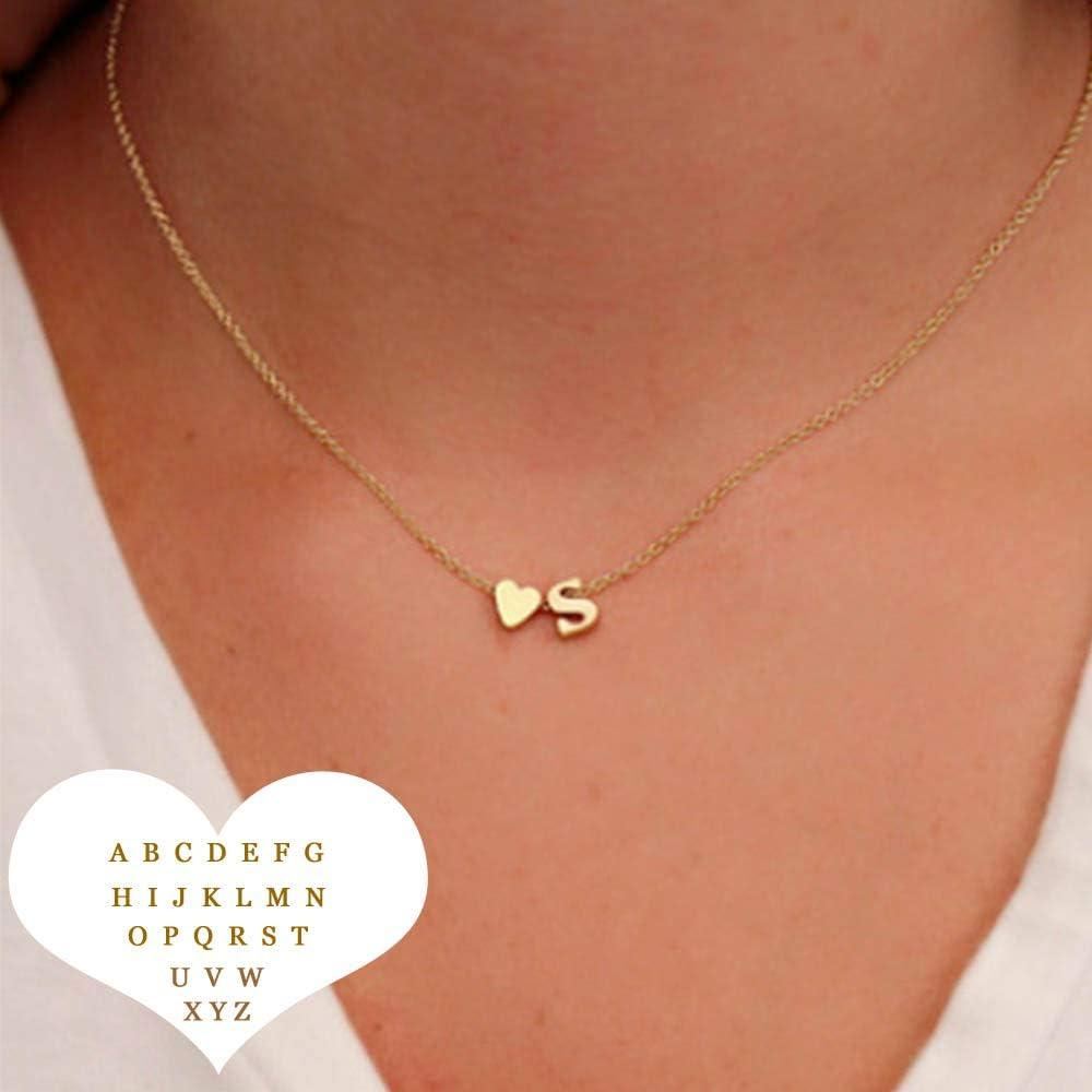 Collar Inicial Delicada del corazón con Collar de Cadena de Gargantilla con Letra Colgante de Regalo de joyería de Color Dorado, C, Color Dorado