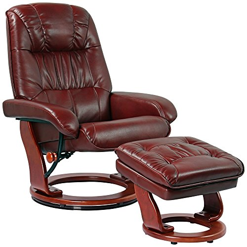 Kyle Ruby Faux Leather Ottoman and Swiveling Recliner (Benchmaster Recliner)
