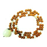 Yoga Meditation Mala- Moonstone Rudraksha Prayer Bead Japa Mala Necklace 108+1