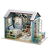 Handmade Miniature Dollhouse 3D Wooden DIY Kit Mini House Craft with Light Festive Christmas Birthday Gift - Blue Countryside