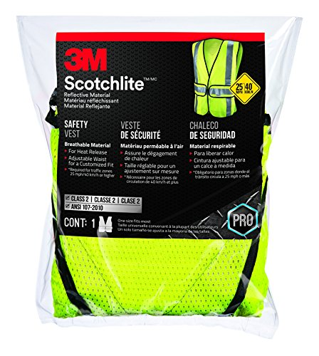 (3M 94617-80030-PS Reflective Clothing, Class 2 Construction Safety Vest, Hi-Viz Yellow)