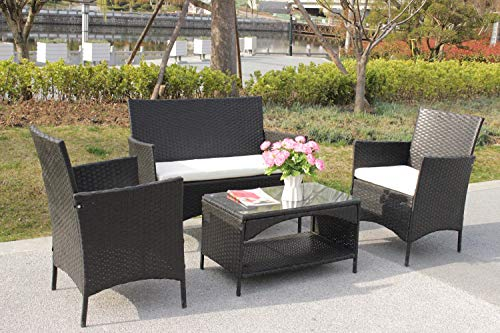 Rikis 4 PCs Outdoor Patio PE Rattan Wicker Sectional Sofa Furniture Set with Seat Cushions for Garden Lawn Pool Backyard