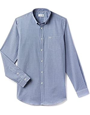 Lacoste Men's Men's Blue Checked Gingham Shirt in Size XL Blue
