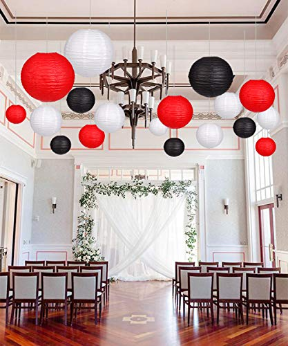 24pcs Round Paper Lanterns for Wedding Birthday Party Baby Showers Decoration Black/Red by Zilue (Image #5)