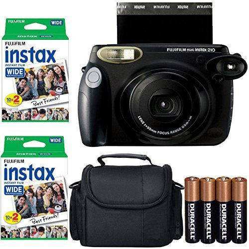Fujifilm INSTAX 210 Photo Instant Camera With Fujifilm Instax Wide Instant Film Twin Pack Instant Film (40 Shots) + Camera Case With Photo4less Microfiber Cleaning Cloth Top Bundle - International Version (No Warranty) (Fuji Instax Wide Camera Case)