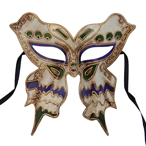 (Nati Men's Butterfly Masquerade Mask Party Costume Color Green Purple)