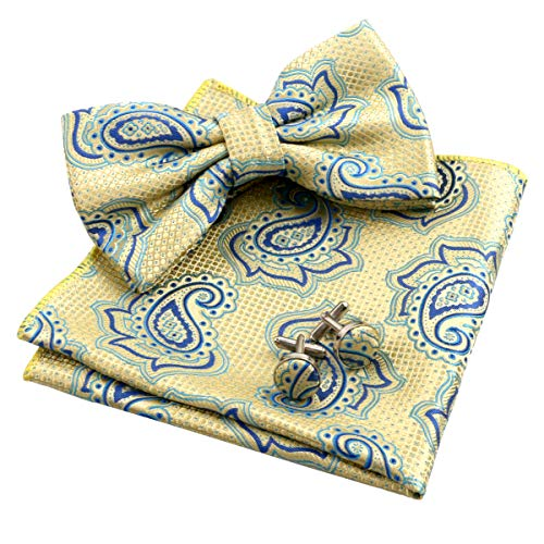 - Alizeal Mens Dot Paisley Pre-tied Bow Tie, Hanky and Cufflinks Set, Yellow