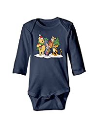 Christmas Winnie The Pooh Personalize For Baby Climbing Long Sleeved Clothing Navy