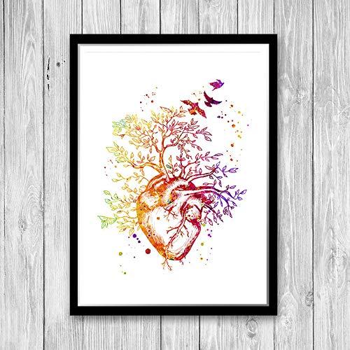 Heart Tree Watercolor Anatomy Art Print Wall Decor Framed Human Heart Cardiologist Gifts Medical Office School Graduation Present Clinic Wall Art Decor