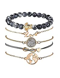 Safire Air Charm Bracelet Set (5 Pieces) for Women Girl Adjustable Charm Pendant Stack Bracelets with Pearl Gold Plated