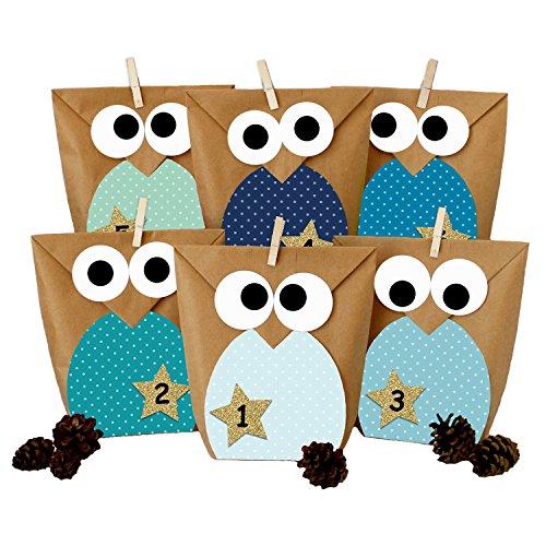 Papierdrachen DIY Advent Calendar - Christmas Owls Blue – Advent Calendar for Making and Filling