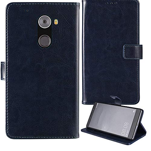 Lankashi Stand Premium Retro Business Flip Leather Case Protector Bumper For EE Hawk 5.0″ Protection Phone Cover Skin Folio Book Card Slot Wallet Magnetic(Dark Blue)