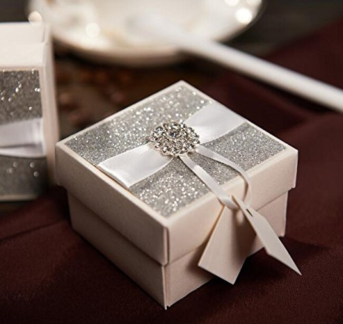 Luxury Silver Glitter Wedding Candy Gift Box 50pcs With Small Name Label Chocolate Package Box With Rhinestone Buckle CB501