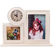 YoMee 5x7 - 4x4 Collage White Wood Clock Picture Frame with Glass - Ornate Scrape Paint Design - Table Desk Top