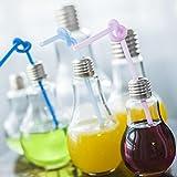Lavany Brief Water Bottle Summer Bulb Pattern Leak-proof Milk Juice Light Bulbs Cup Party Supply (400ML)