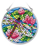 Amia Handpainted Glass Mosaic Dragonfly Suncatcher, 4-1/2-Inch