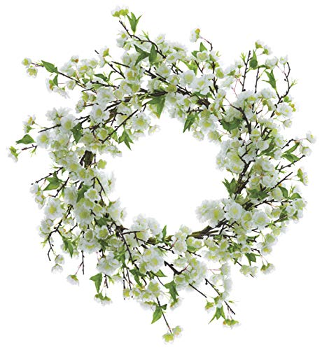 Ten Waterloo 20 Inch White Artificial Cherry Blossom Wreath on a Hand Wrapped Base (Blossom Wreath)