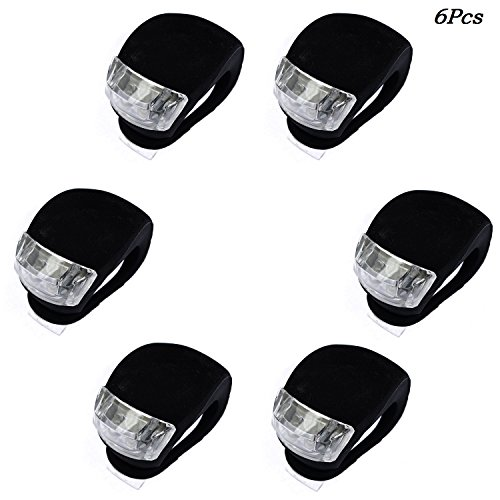 Beeagle- 6Pcs Silicone beetle frog LED Mountain Bike Bicycle Headlights Tail Warning Lights Black