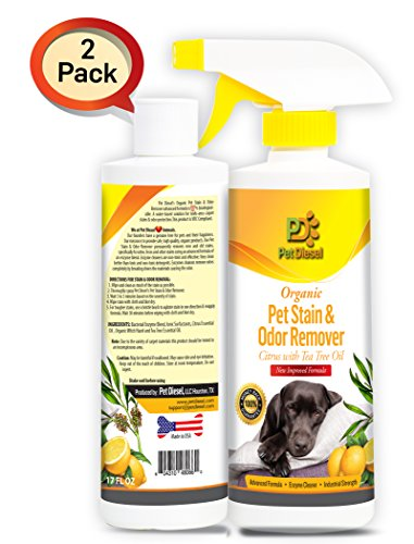 Pet Stain & Odor Spray Remover Best Organic Enzyme Cleaner For Pet Odor Elimination & Dog, Cat Urine