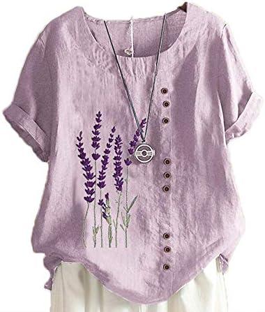 Dames Linnen Tshirts Lavendel Gedrukt Casual Losse korte mouw Tops Ronde kraag Tshirt