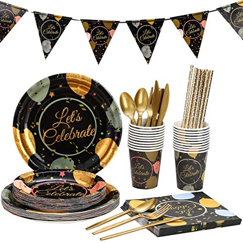Birthday Party Supplies Set For Adults – Disposable Dinnerware Kit For 20 Guests – Includes Bronzing Paper Plates…