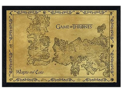 Black Wooden Framed Game Of Thrones Map Antique Map 915x61cm