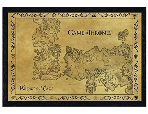 Black Wooden Framed Game Of Thrones Map Antique Map 91.5x61cm
