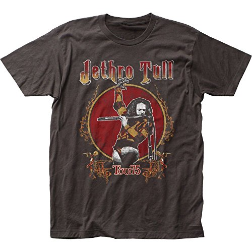 - Originals Jethro Tull British Rock Band Music Group Tour '75 Adult Fitted Jersey T-Shirt,Black,Large