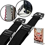Image of BabyBliss Anti Tip Furniture & TV Safety Straps (2 Pack) | All Metal Parts, No Plastic | Heavy Duty Durable Anchors | Adjustable Safety Straps For Baby Proofing and Child Safety