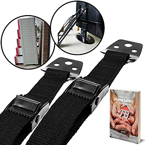 BabyBliss Anti Tip Furniture & TV Safety Straps (2 Pack)   All Metal Parts, No Plastic   Heavy Duty Durable Anchors   Adjustable Safety Straps For Baby Proofing and Child Safety
