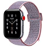ATUP Compatible Apple Watch Band 38mm 40mm 42mm 44mm, Soft Breathable Fabric Woven Wristbands for iWatch Apple Watch Series 4/3/2/1 (B- Pink Sand, 42mm/44mm)