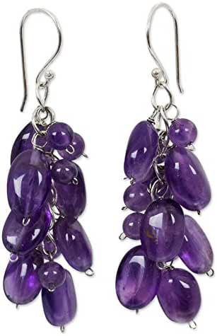 NOVICA Amethyst Cluster Earrings with Sterling Silver Hooks, 'Violet Clouds'