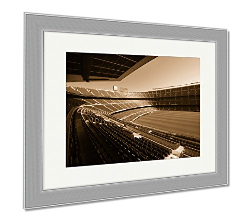 Ashley Framed Prints Wide View Of Fc Barcelona Nou Camp Soccer Stadium, Wall Art Home Decoration, Sepia, 30x35 (frame size), Silver Frame, AG5599282 by Ashley Framed Prints