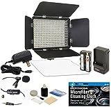 Professional Advanced 3200-5600K Variable-Color On-Camera LED Video Light Kit + Microphone Bundle for Canon EOS DSLR 5D Mark II III 6D 7D 7D II 77D 80D 70D 60D T6s T7i T6i T5i T4i T3i SL1 Cameras