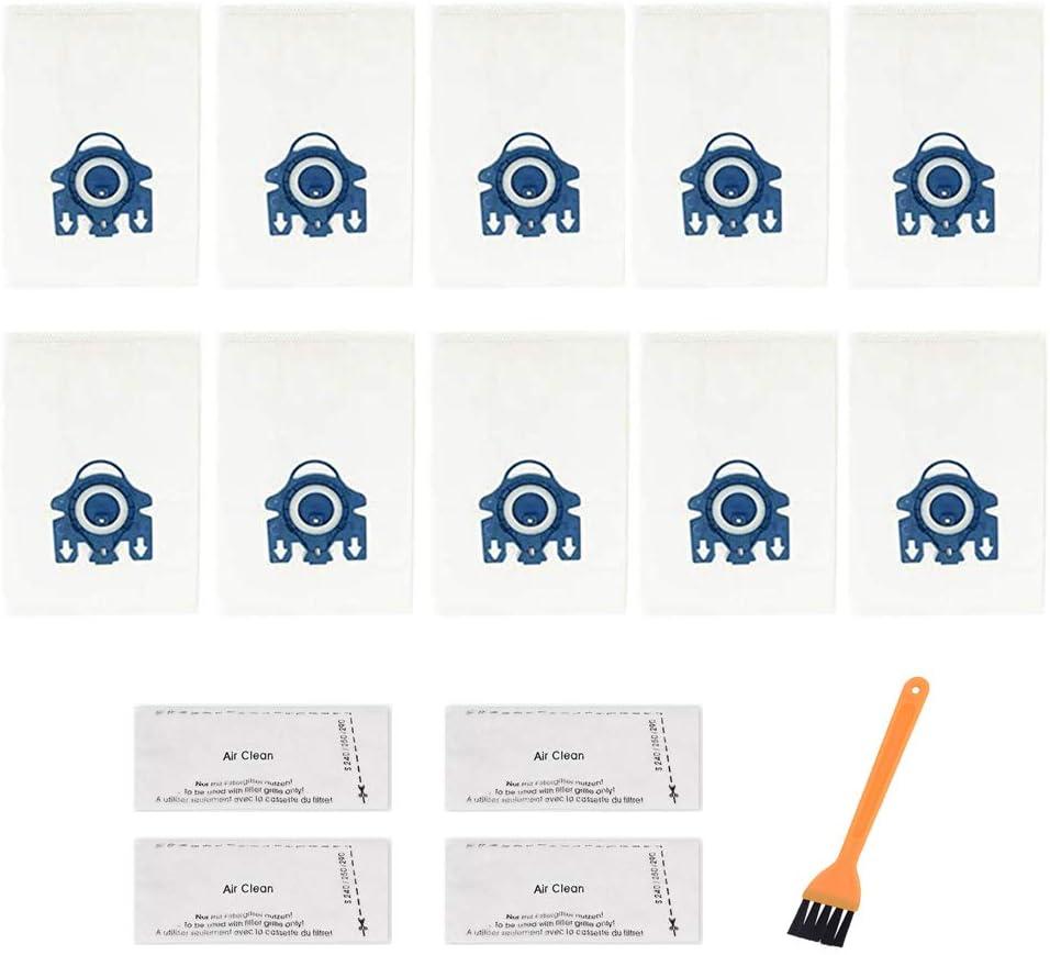 أكياس الغبار عالية الجودة من ANBOO 10 قطع من أكياس HEPA AirClean 3D ذات كفاءة ثلاثية الأبعاد متوافقة مع Miele Vacuums Complete C3, C2, مع 4 فلاتر وفرشاة واحدة