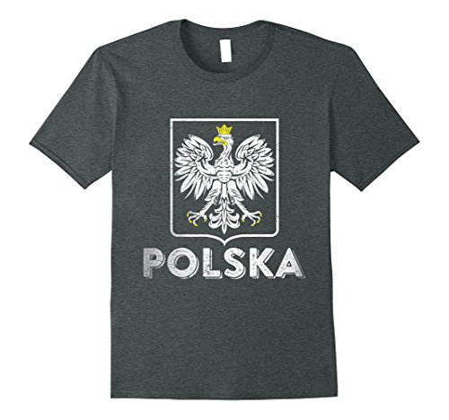 Mens Polska Retro Style Tee Poland T-shirt Polish Soccer Shirt XL Dark - Retro Style Male