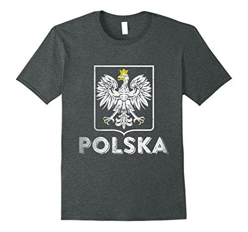 Mens Polska Retro Style Tee Poland T-shirt Polish Soccer Shirt XL Dark - Retro Male Style