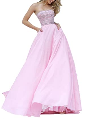 Winnie Bride Elegant Jeweled Prom Ball Gowns Long Evening Dresses for Wedding-4-Pink