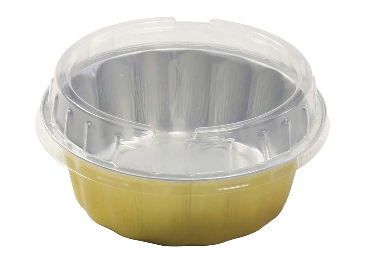 KitchenDance Disposable Colored Aluminum 8 oz. Individual Cake Cups- Tart Pans-Dessert Pans. Color and Lid Options #A8 (50, Gold With Lids)
