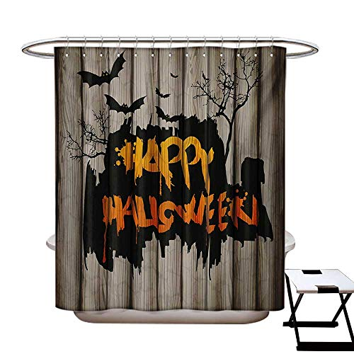 BlountDecor Halloween Shower Curtains Sets Bathroom Happy Graffiti Style Lettering on Rustic Wooden Fence Scary Evil Holiday Artwork Satin Fabric Sets Bathroom W69 x L70 Multicolor -