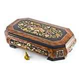 Handcrafted 36 Note Grand Double Level Music Theme Inlay Musical Jewelry Box - Minuet In G & Dream of Love