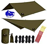 Chill Gorilla 10x10 Hammock Rain Fly Camping Tarp. Ripstop Nylon. 170'' Centerline. Stakes, Ropes & Tensioners Included. Camping Gear & Accessories. Perfect Hammock Tent. OD Green