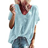 2019 Women Fshion Blouse Tops Summer Short Sleeve V-Neck T-Shirts Casual Loose Solid Color Pullover Tees (Light Blue, M)