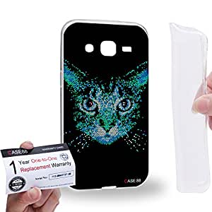 Case88 [Samsung Galaxy J2] Gel TPU Carcasa/Funda & Tarjeta de garantía - Art Aztec Design Blue Cat Animal Faces Art1278