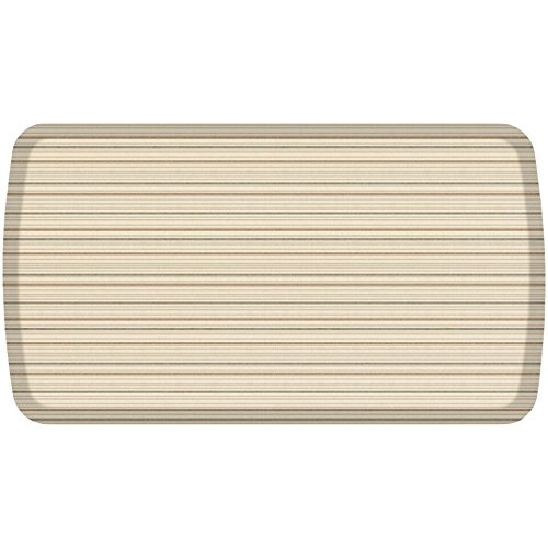 GelPro Elite Premier Anti-Fatigue Kitchen Comfort Floor Mat, 20x36'', Pinstripe British Beige Stain Resistant Surface with therapeutic gel and energy-return foam for health & wellness